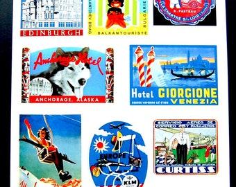 Vintage Luggage Label Images Paper, on Card Stock 8.5 X 11 Sheet BR-1. NOT Digital
