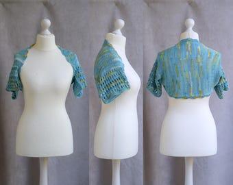 Blue lace shrug, lace knit bolero, bridalwear, wedding accessory, short sleeved shrug, cotton shouldercover, fits sizes M-L