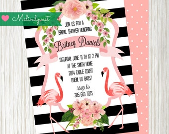 Printable Flamingo Bridal Shower Invitation with coordinating registration card!  FREE coordinating Welcome Sign!