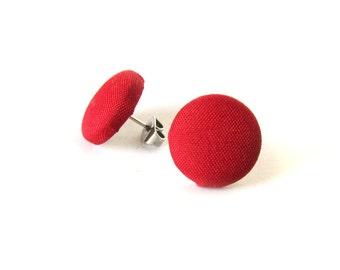Scarlet red earrings - solid red stud earrings - red button earrings - red fabric earrings - simple post earrings plain passion love