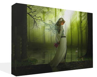Large Sweet Green Fairy In Woods Canvas Print Wall Art Ready To Hang Or Poster Print