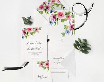 Rustic Floral Vintage Wild Flower Watercolor Flower Botanical Floral Garden Wedding Invitation Fall Colors Boho Wedding Invite 16