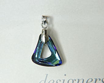 Swarovski 4437 Organic Cosmic triangle fancy Stone Crystal Bermuda Blue 20mm in pendant settings 1/2/3 Pieces