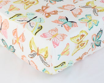 Fitted Crib Sheet: Butterfiles (Girl Baby Bedding) | Bold Bedding