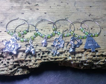 Wine Glass Charms Drink Markers, Handfasting wine glass charms, Greenman Woodland Forest Nature