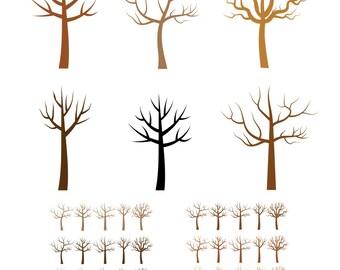 Fingerprint tree clip art, Bare tree silhouette clipart, Thumbprint wedding tree clipart, Winter tree clipart, Leafless tree, Family tree
