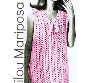 Vintage 70s Crochet DRESS PATTERN Instant Download