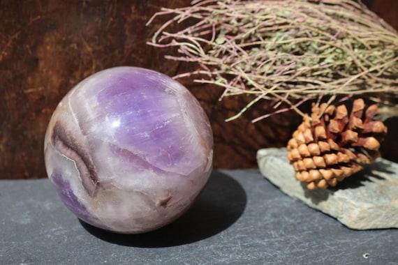 Extra Large Chevron Amethyst Sphere 1.3 lbs., Amethyst Ball, Large Polished Amethyst, Crystal Ball, Purple Crystal Ball, Smooth Amethyst