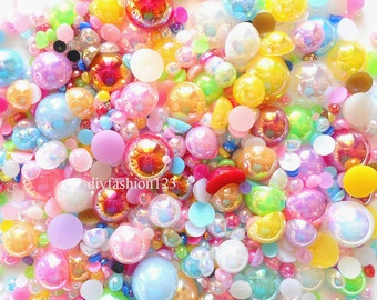 600 pc AB mixed colors &  mixed sizes  flat back resin Pearl Cabochons