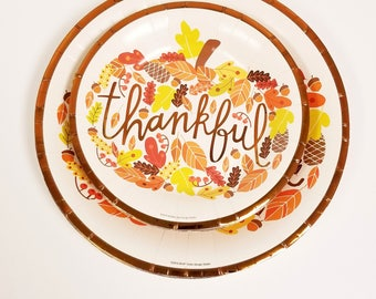 Set of 20 THANKFUL PAPER PLATES Thanksgiving Friendsgiving Appetizer Dessert Paper Plates Thankful Copper Tableware Harvest  sc 1 st  Etsy & Set 20 COLOR CONFETTI Paper Plates Rainbow Polka Dot Dotted