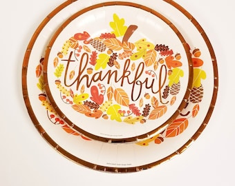 Set of 20 THANKFUL PAPER PLATES Thanksgiving Friendsgiving Appetizer Dessert Paper Plates Thankful Copper Tableware Harvest Fall Decorations