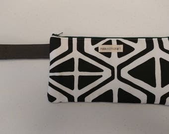 SALE** Clutch, black and white, leather, leather bag, flawed leather, wristlet