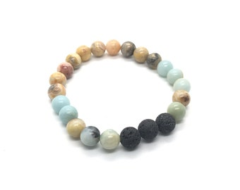 Aroma Diffusing Crazy Lace Agate, Amazinite and Volcanic Lava Bracelet - Add a drop of any skin-safe essential oil to diffuse!