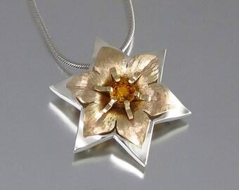 STAR OF DAVID 14k gold & silver Daffodil pendant - Ready to ship