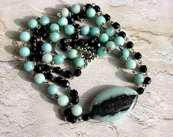 Natural Amazonite Stone Necklace, Handmade Jewelry, Pendant, Double Strand, 232