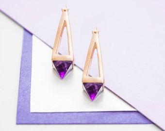Rose Gold Amethyst Earrings, Long Pyramid Earrings, Geometric Drop Earrings, Birthstone Earrings, Natural Gemstone Earrings, 3d Earrings