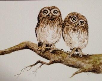 Little owls A5 fine art print greeting card [blank inside]