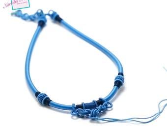 1 beautiful holder silk thread necklace, sky blue