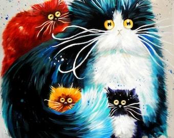 Pop Art-Chubby Cat quartet e95068 60 x 60 cm funny image