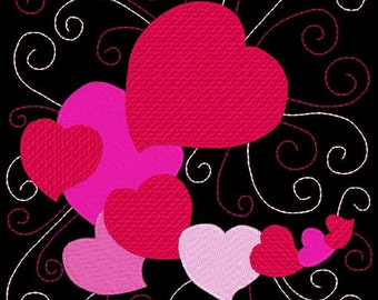 SWEETHEARTS #11- 1 Machine Embroidery Design Instant Download 4x4 5x7 6x10 hoop (AzEB)