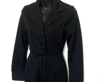 Vintage Black Polyester Jumpsuit Military / Coverall Style with Long Sleeve