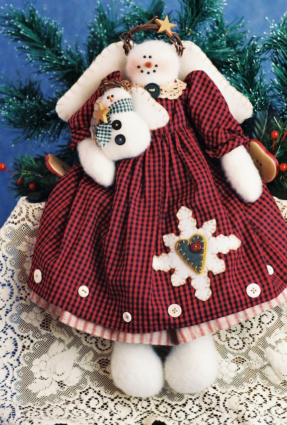 Snowflake and Little Flurry - Cloth Doll E-Pattern  Christmas Holiday Snow Angel with Baby Epattern