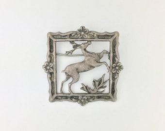 Vintage Deer Picture Frame Brooch Sterling Silver Mid Century