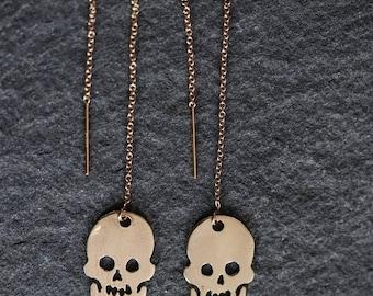 Dangling Skull Earrings - Skull Earrings - Thread Skull Earrings - Thread Earrings - Gold Skull Earrings -Gothic Skull Earrings