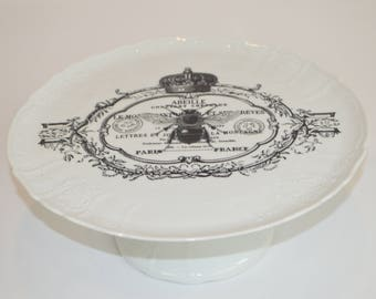 "Angelique, 11"" white cake plate stand (shown with image #  i6- paris, france, abeille bee)"