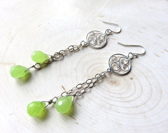 Long Chalcedony Earrings, Lime Green and Silver, Shoulder Dusters, Granny Smith Green, Sterling Silver Chain, Filligree Circles, Citrus