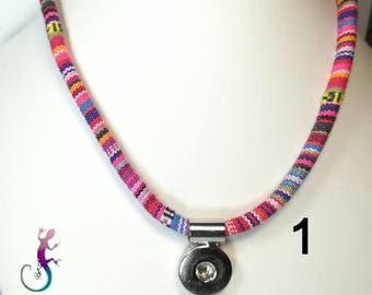 Cord necklace with pendant for snap button Peruvian aguayo
