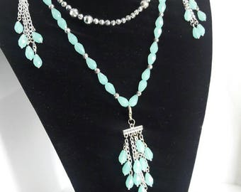 Glass beaded necklace set, Stretch necklaces earrings and tassel aqua blue teardrop glass beads