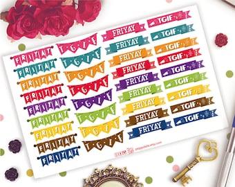 Friday Banners Planner Stickers    Life Planner   Kikki K   Filofax   Flags   Headers   Ribbons   TGIF