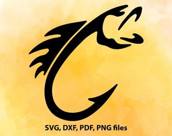 Fish hook svg, Fish svg, Fishing Svg, dxf, cricut, silhouette cutting file, Digital download, Fishing hook dxf