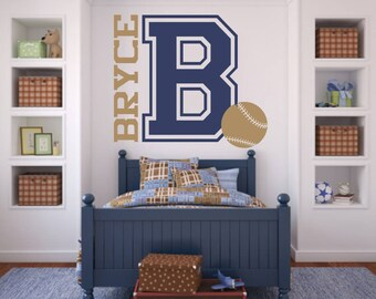XLG Varsity Letter Baseball Decal with Personalized NameB28 for Teen Boys Bedroom Sports Wall Decal Baseball Wall Decal