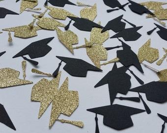 Graduation black and gold glitter table confetti/ cake topper. Graduation party decor, confetti.Graduation cap, mortar board