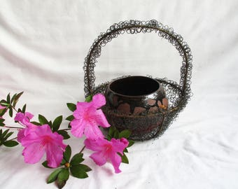Vintage Gnarly Wire Round Basket Redesign Hand Thrown Floral Pot Set Centerpiece Rustic Farmhouse Home and Living Centerpiece Basket Set