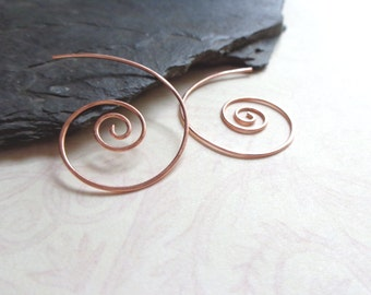 Nautilus Shell Earrings, Nautical Copper Earrings, Delicate Copper Jewelry