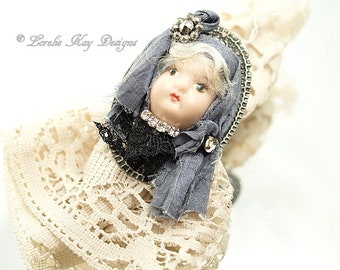 Gypsy Girl Shabby Dolly Ring Doll Blonde Girl Statement Ring Assemblage Wearable Doll Head Jewelry Lorelie Kay Original