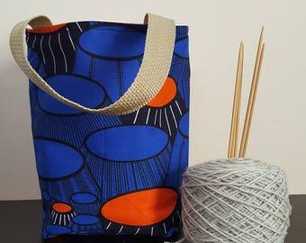 Cobalt Landscape Knitting / Tote Bag