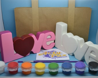 Paint Your Own Ceramic Love Word Kit