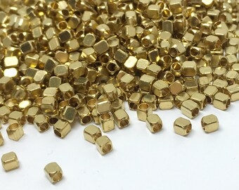 3mm x 2mm Raw Brass Cube Beads - Brass Cube - Cube Beads - Spacer Beads - Brass Tiny Beads