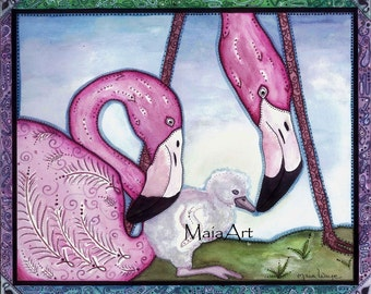 Flamingo Born 5x7