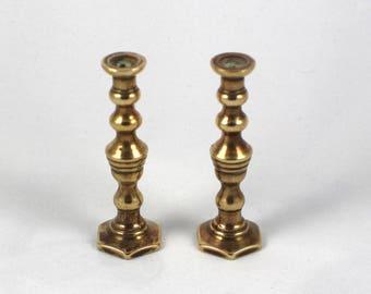 Pair of Tiny Brass Candle Sticks Plain Ring Design Metal Miniature Candlesticks