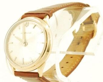 Bulova Accutron grade 214 vintage wrist watch, yellow gold (filled) & stainless steel round case, sunburst pattern dial