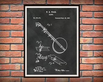 Patent 1887 Banjo Designed by Wallace Wood - Musical Instrument Art Print - String Instrument  -  Wall Art - Blue Grass Art - Folk Art