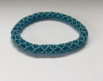 beaded bangle blue beaded bangle blue pearl beads blue seed beads in cross pattern brilliant bracelet easy to use