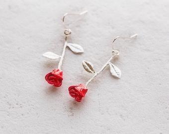 Rose Earrings, Red Rosebud Earrings, Silver Rose Earrings, Mothers Day Gift, Gift for Mom, Anniversary Gift for Wife, Gift for Girlfriend