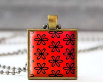 Red floral necklace, Flower Photo charm necklace, Square Glass dome jewelry, Wearable art, 5054-2, Mother's day gift
