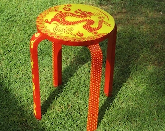 DRAGON STOOL. dragon wooden furniture. chinese new year 2012. dragon year decoration. Hand Painted Furniture